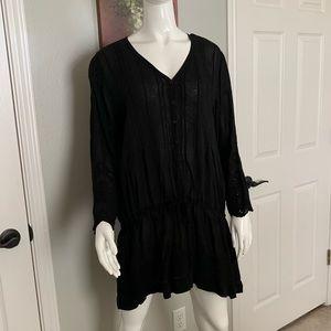 Johnny Was Mini Dress with Tie Waist & Embroidery